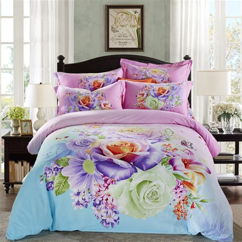 Bright Colored Bedding Sets Bright Colored Flowers Bedding Set King Size Bed Sheets Duvet Cover Brushed