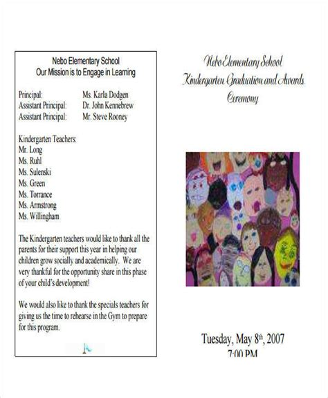 kindergarten graduation program template 6 graduation program free sle exle format