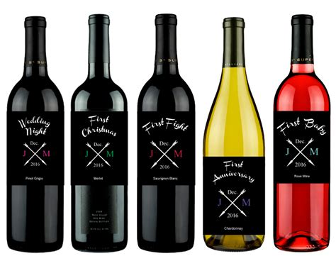 wedding milestones arrow personalized wine labels 6