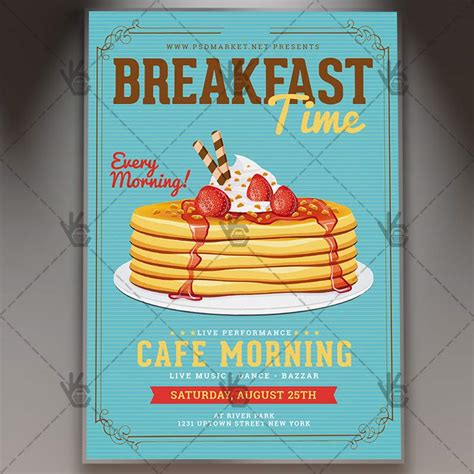 Breakfast Time Premium Flyer Psd Template Psdmarket Breakfast Flyer Template