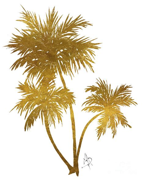 Home Decor Tree by Metallic Gold Palm Trees Tropical Trendy Art Painting By