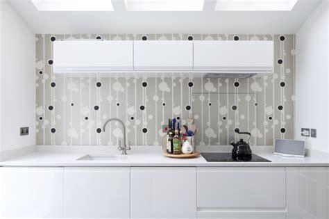 feature wallpaper  modern kitchen home refurbishment