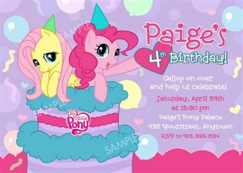 horse birthday party invitations printable or digital file my little pony birthday party invitation printable