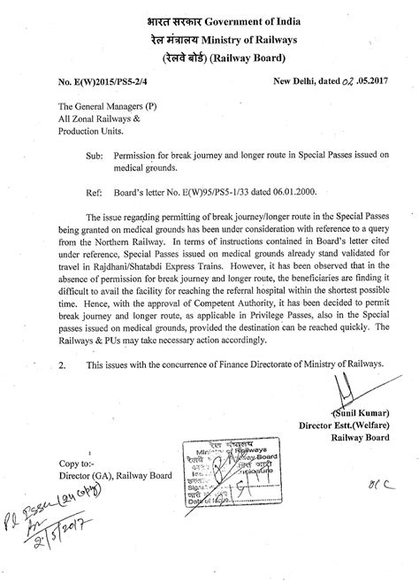 Permission Letter Of Rrb Permission For Journey And Longer Route On Passes