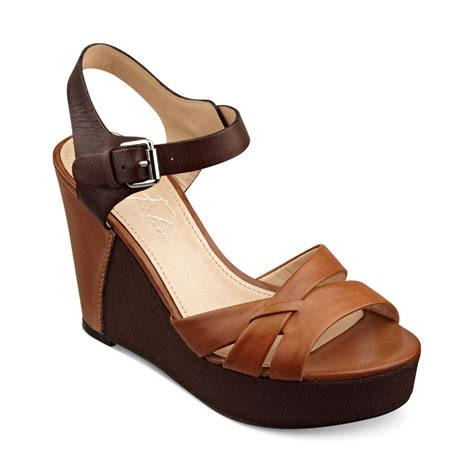 marc fisher hello platform wedge sandals in brown