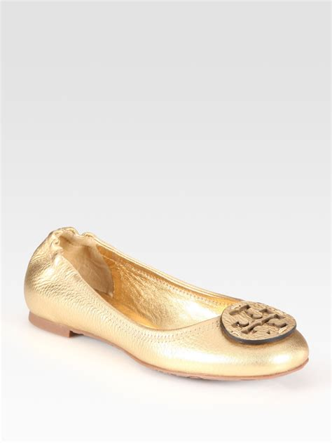 gold shoes flats burch reva metallic pebbled leather logo ballet flats