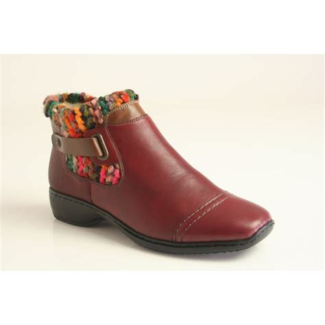 rieker rieker burgundy ankle boot with a patterned cuff