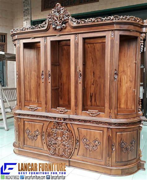 Lemari Pakaian Jati Mawar Kalung Nakas Bufet Kamar Set Dipan Sofa lemari pajangan jati pilihan lancar furniture lancar furniture
