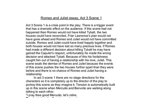 Free Essays On Romeo And Juliet Act 3 1 by Essay Questions For Romeo And Juliet Act 1 College Paper
