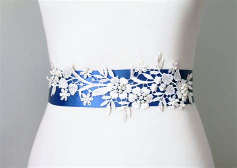 bridal couture beaded ivory lace flower royal blue by
