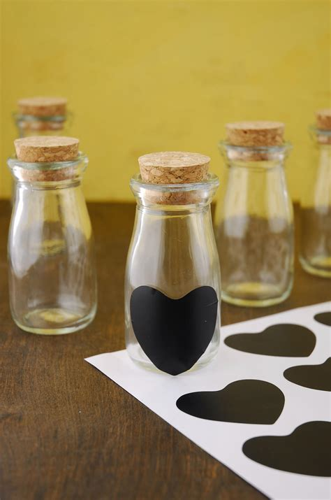 Heart Shaped Vase With Cork 24 Vintage Milk Bottles With Chalk Heart Labels