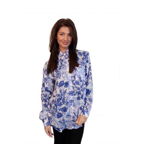 print chiffon shirt blue floral print chiffon blouse from parisia