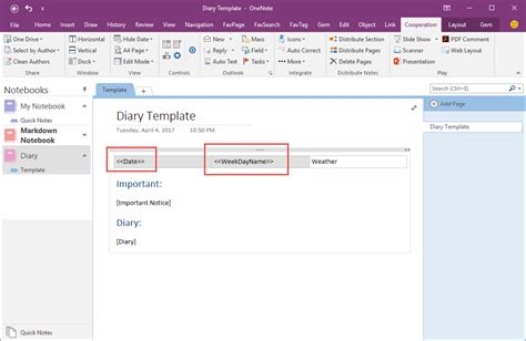 how to create and using date fields in an onenote template