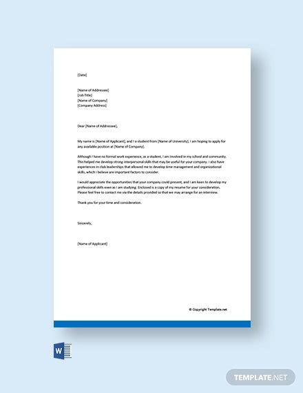 application letter templates word