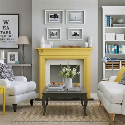 Grey Living Room With Fireplace Grey Living Room With Yellow Fireplace Bravacasa Magazin