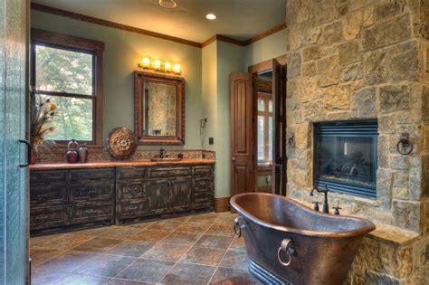 indian lakes mountain lodge style rustic bathroom