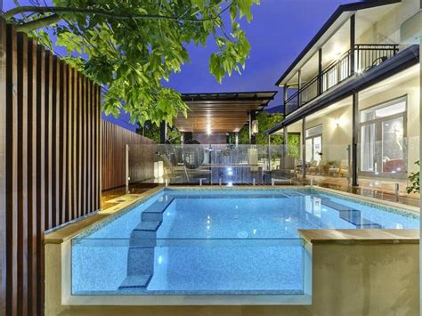 Porch Decor Ideas by Modern Pool Design Using Tiles With Glass Balustrade