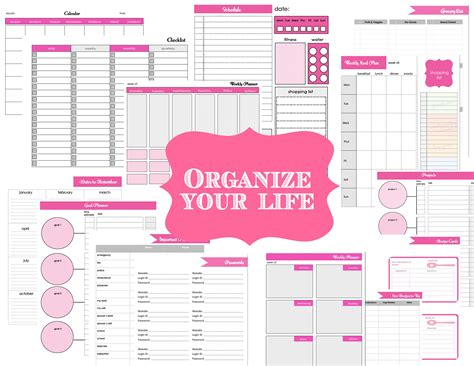 printable life planner get organized organizer printable sheets to do list