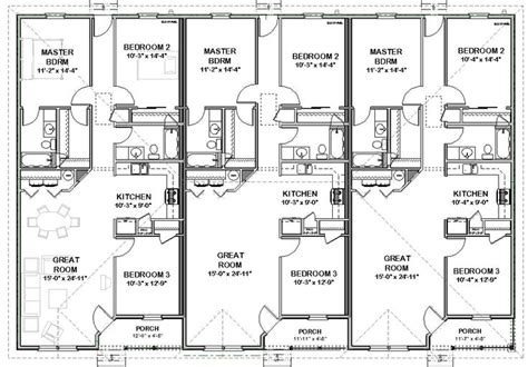 3 bedroom unit floor plans triplex house plans 1 387 s f ea unit 3 beds 2 ba