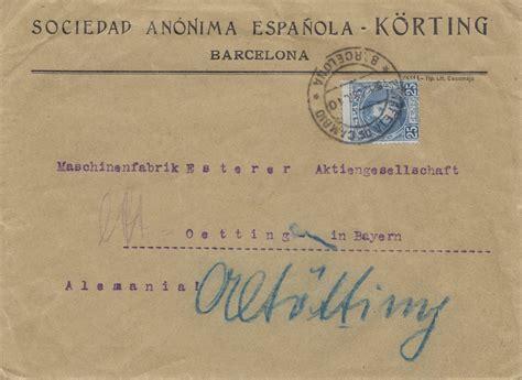 Brief Schweiz Spanien spanien 1910 brief aus barcelona nach oetting 183 philarena