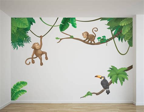 childrens wall stickers uk jungle monkey children s wall sticker set contemporary