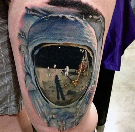 real looking tattoos awesome realistic looking colored astronaut on moon