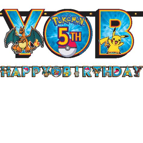printable pokemon happy birthday banner pokemon friends birthday banner this party started