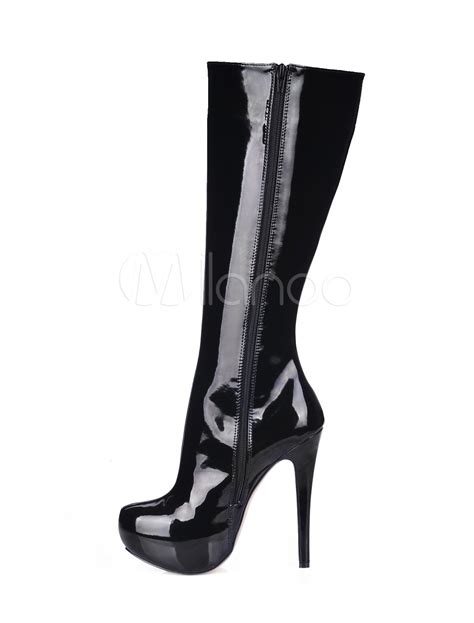black high heel patent leather knee high boots milanoo