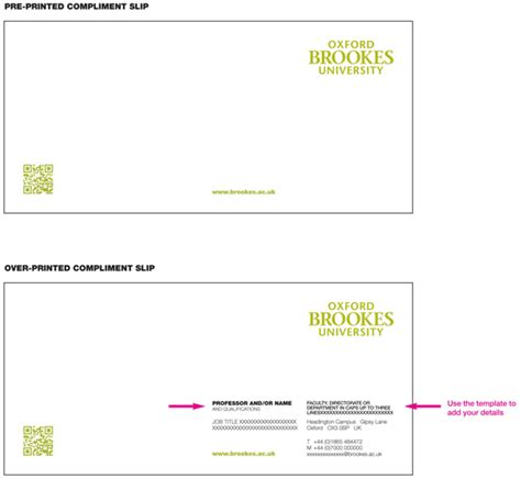 Compliment Card Template by Compliments Slips Oxford Brookes