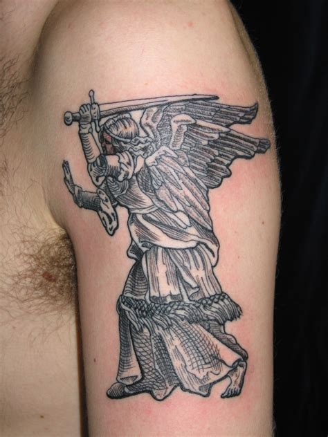 irish street tattoo st michael the avenging angel