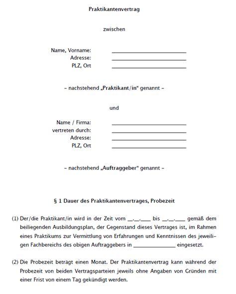 Praktikum Empfehlungsschreiben Muster praktikumsvertrag vorlage zum