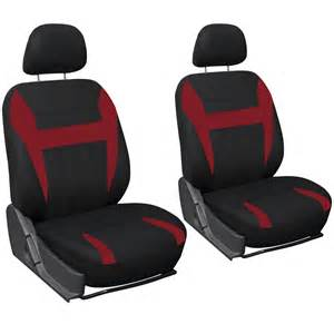 Piece red and black front low back car seat cover set bucket chairs