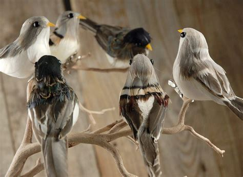 Home Decor Silk Flower Arrangements by Bird Figurines Pack Of 6