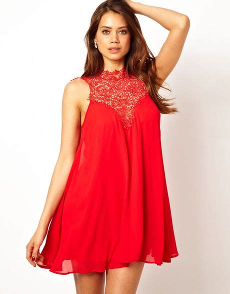 tfnc swing dress tfnc swing dress with lace high neck in red lyst