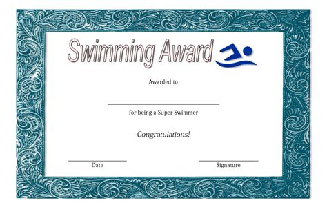 swimming certificates templates swimming certificate template 3 the best template collection