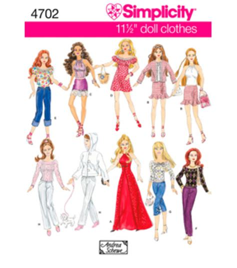11 1 2 fashion doll patterns simplicity pattern 4702 11 1 2 fashion doll clothes one