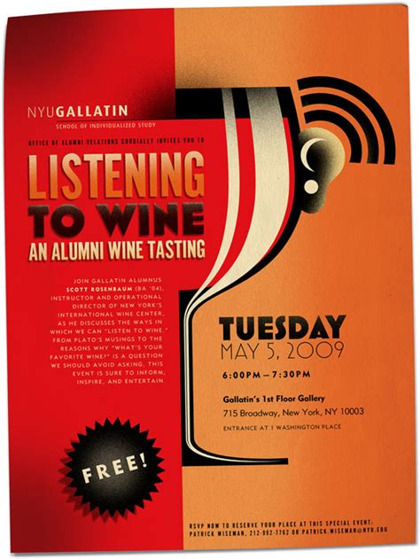 design poster reference nyu gallatin listening to wine poster design on behance