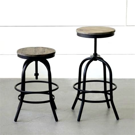 backless wood  metal industrial counter stool antique