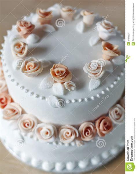 Wedding Cake With Rose Decorations Stock Image   Image of