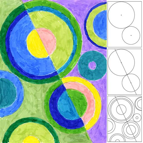 delaunay marker drawing art projects for kids