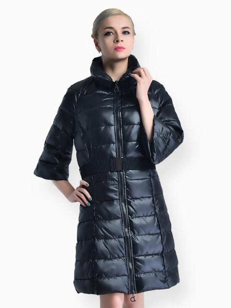 sleeves zipper slim fit long puffer parka coat womens