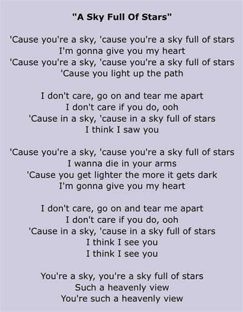 It A Starry Place Lyrics Coldplay A Sky Of Lyrics And Lyrics