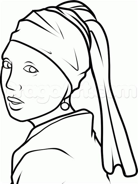 How to Draw Girl with a Pearl Earring, Girl with a Pearl