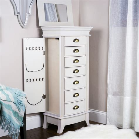 white standing jewelry armoire white standing mirror jewelry armoire doherty house