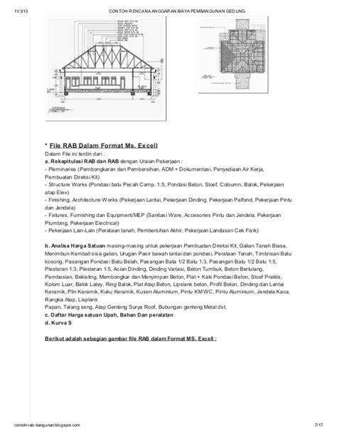 contoh rencana anggaran biaya pembangunan gedung di