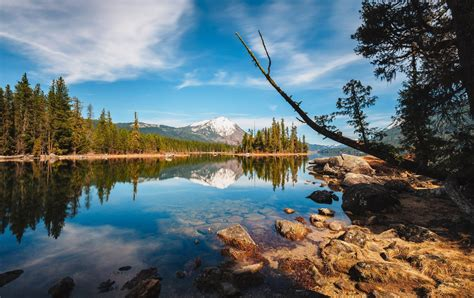photography nature landscape lake snowy peak forest