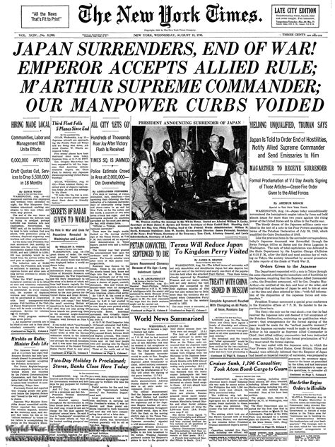 Times New new york times front page august 15 1945 the world war