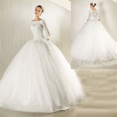 custom wedding dress new modest long lace sleeves ball gown wedding dress