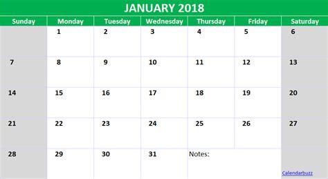 Calendar 2018 Xls January 2018 Calendar Template Excel Xls Spreadsheet