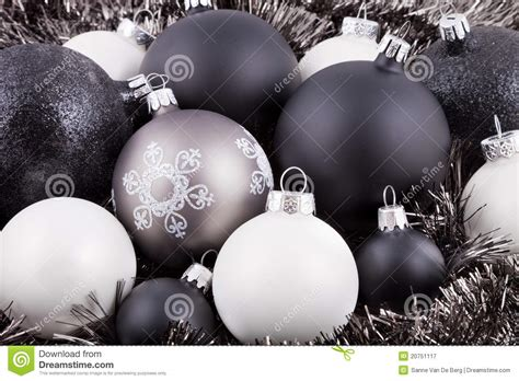 black white and taupe christmas decorations royalty free